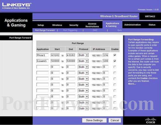 Linksys WRT54G2 программный интерфейс