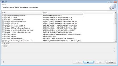 Далее на экране отображается список скачиваемых и устанавливаемых обновлений