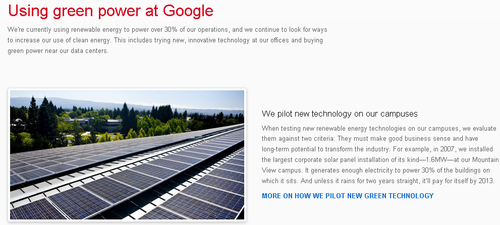 Солнечные панели на крыше штаб-квартиры Google