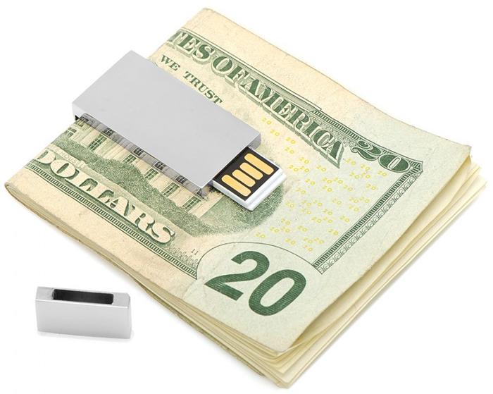 Silver 8GB USB Flash Drive Money Clip
