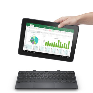 Dell Venue 10 Pro 5000 Series (Model 5056, Somerset) tablet computer held in a human hand above the mobility keyboard attachment.